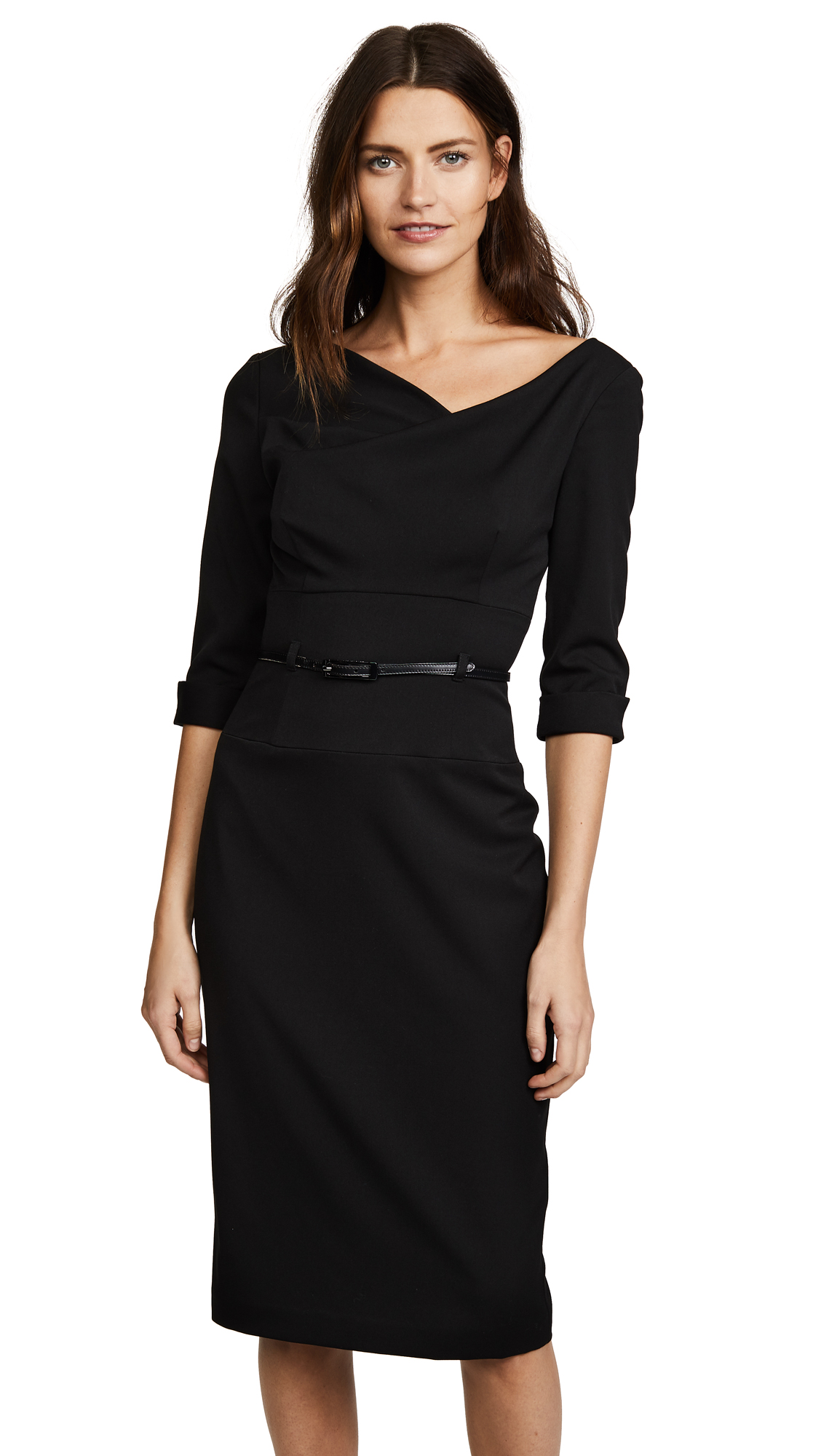 Black Halo 3/4 Sleeve Jackie O Dress In Black