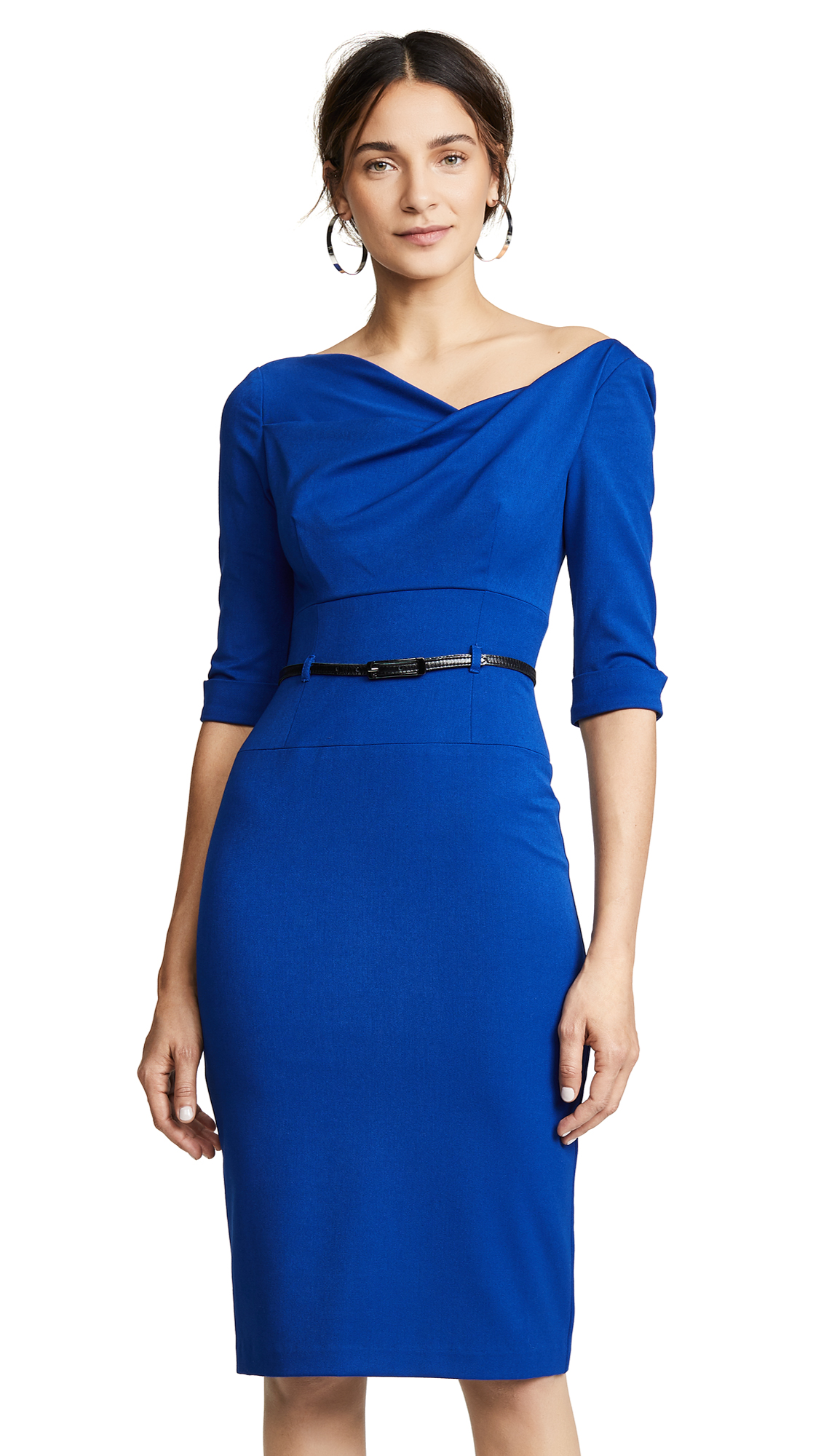 Black Halo 3/4 Sleeve Jackie O Dress - Cobalt