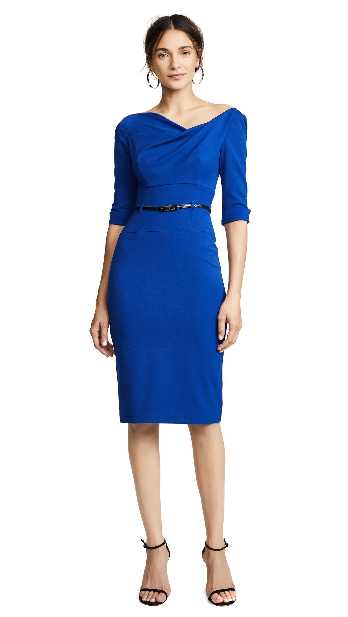 Black Halo 3/4 Sleeve Jackie O Dress - Cobalt