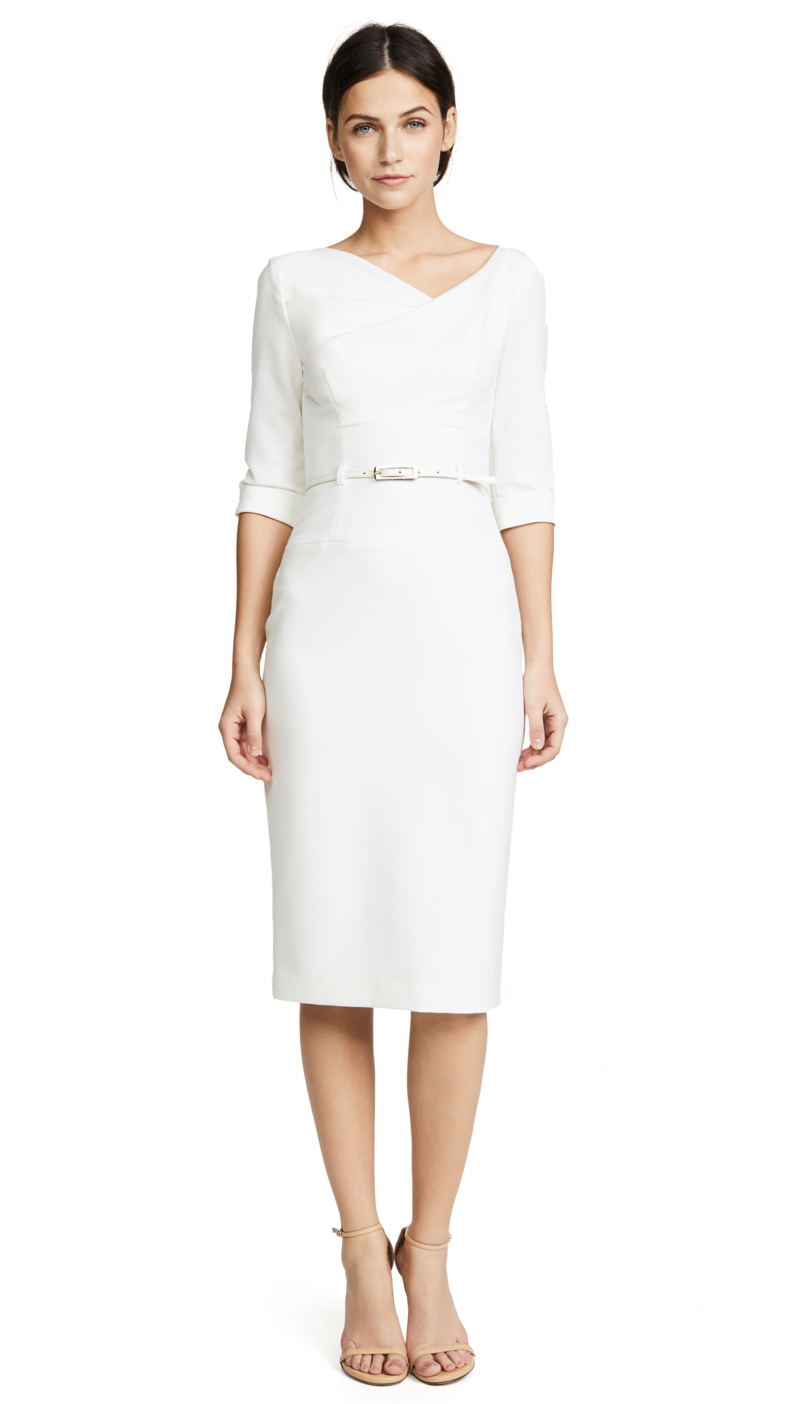 Black Halo 3/4 Sleeve Jackie O Dress - Winter White