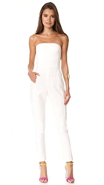 Black Halo Iris Strapless Jumpsuit In Porcelain
