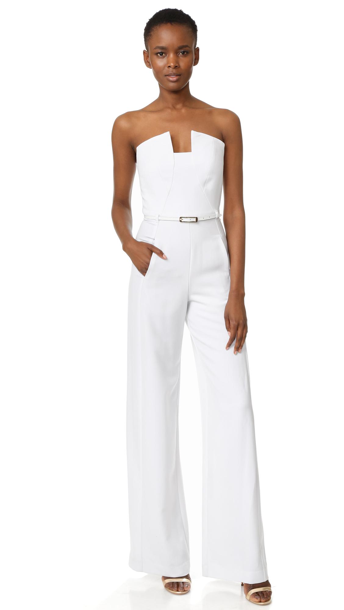 Black Halo Lena Jumpsuit - White/White