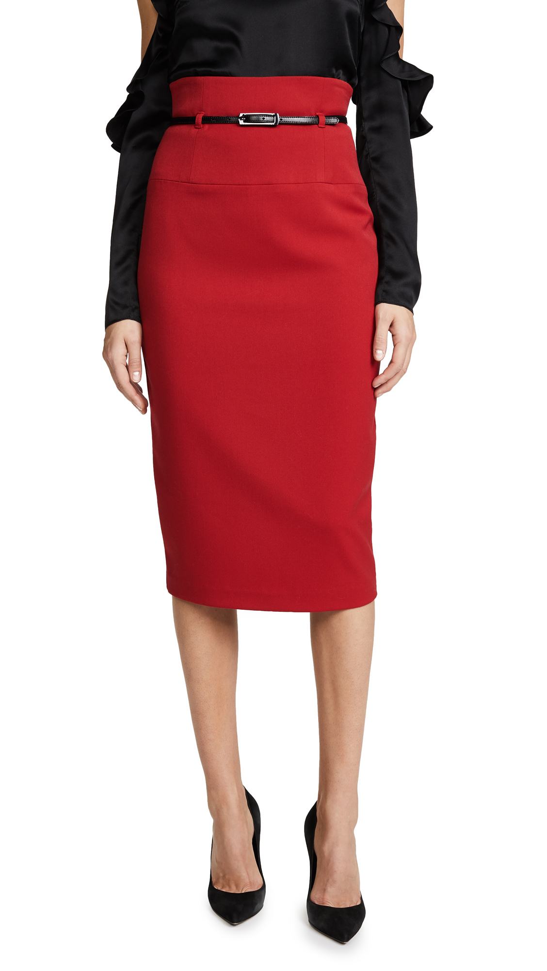 Black Halo High Waisted Pencil Skirt - Red