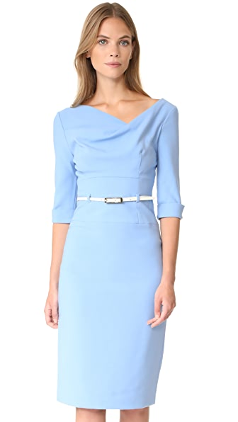 Black Halo 3/4 Sleeve Jackie O Dress - Twinkle Blue