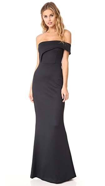 Black Halo Off Shoulder Gown In Black