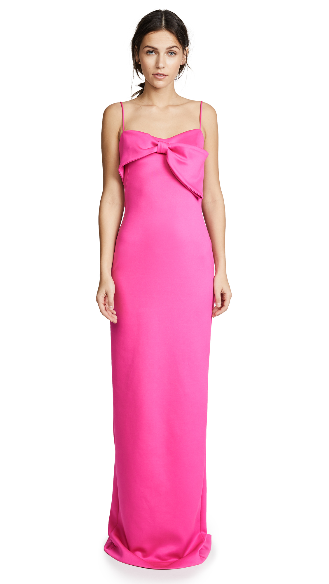Monroe Sleeveless Column Gown W/ Bow Detail, Iconic Pink
