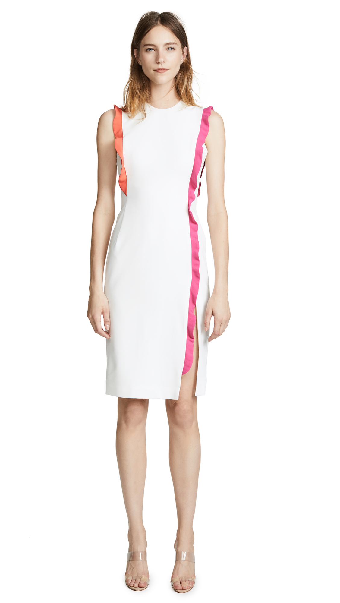 Black Halo Whitley Sheath Dress - Pearl/Canyon Coral/Hot Pink
