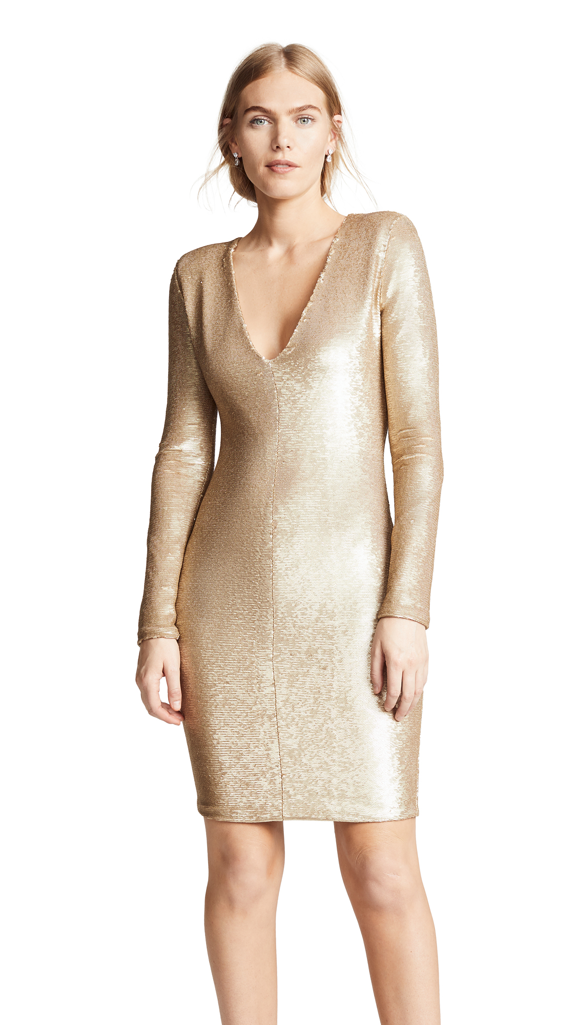 Black Halo Poppy Sheath Dress In Golden Scales