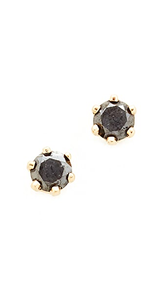 blanca monros gomez 14k Gold Little Black Diamond Stud Earrings - Gold/Black