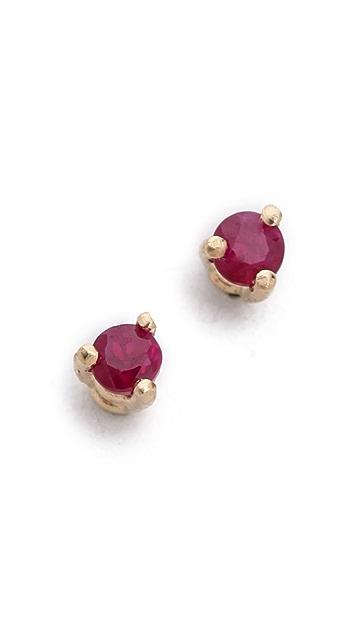 blanca monros gomez 14k Gold Tiny Ruby Stud Earrings