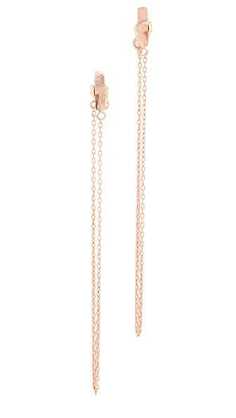 blanca monros gomez 14K Rose Gold Bar and Chain Earrings