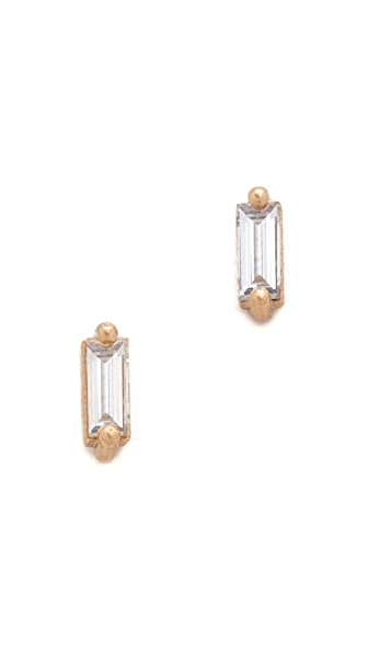 blanca monros gomez 14k Gold Baguette Stud Earrings - Gold/Clear