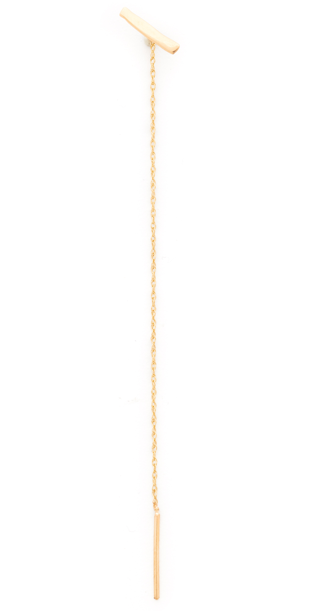 14k Gold Bar  Chain Stitch Single Earring blanca monros gomez