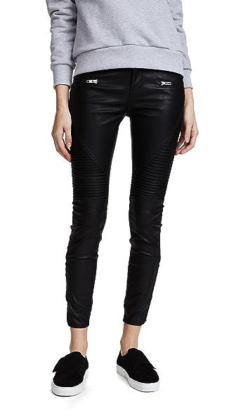 Black Vegan Leather Moto Pants