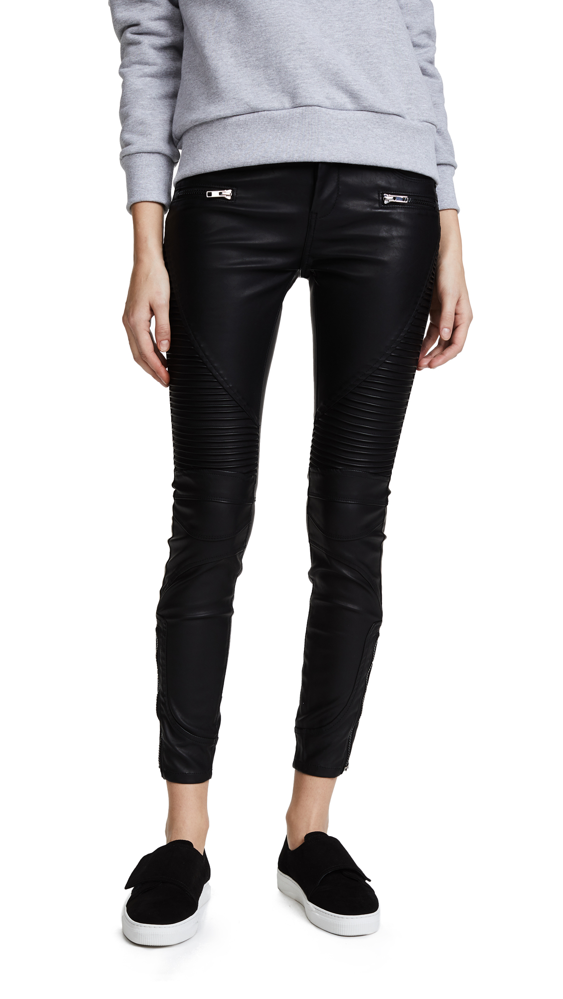 Blank Denim Black Vegan Leather Moto Pants - Daddy Soda