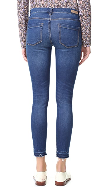 Blank Denim Skinny Ankle Jeans with Frayed Hem