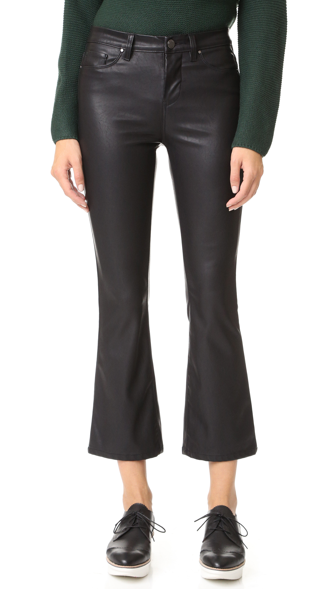Exclusive to Shopbop. Faux leather Blank Denim pants in a slightly flared profile.5 pocket styling. Button closure and zip fly. Fabric: Faux leather. 60% polyester/40% viscose. Spot clean. Imported, China. Measurements Rise: 9.25in / 23.5cm Inseam: 26.5in / 67cm