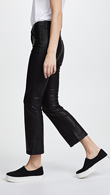 Blank Denim Vegan Leather Crop Kick Flare Pants