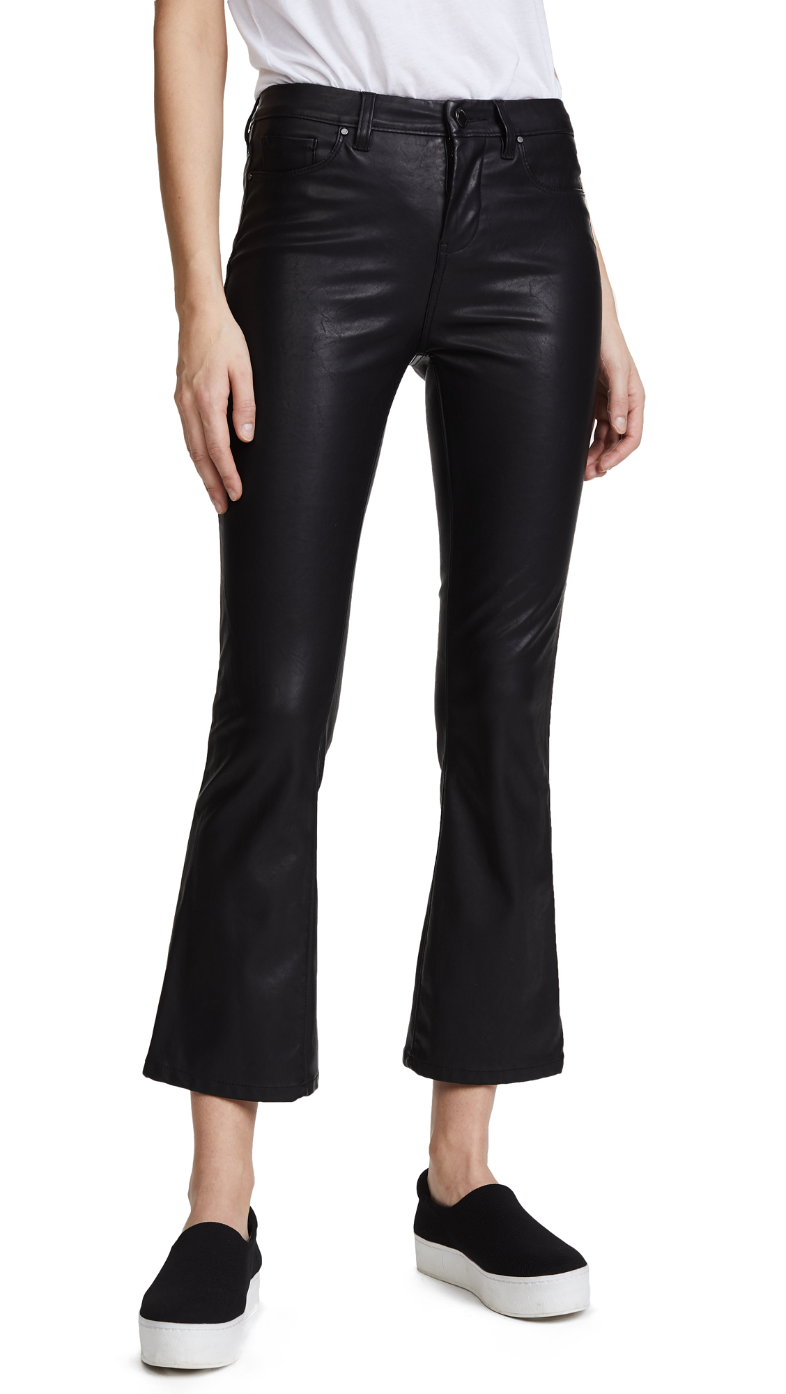 Blank Denim Vegan Leather Crop Kick Flare Pants - Daddy Soda
