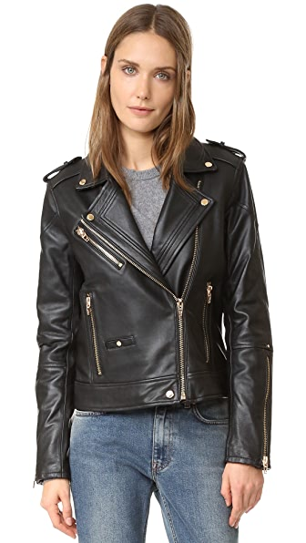 Blank Denim Leather Moto Jacket - The One