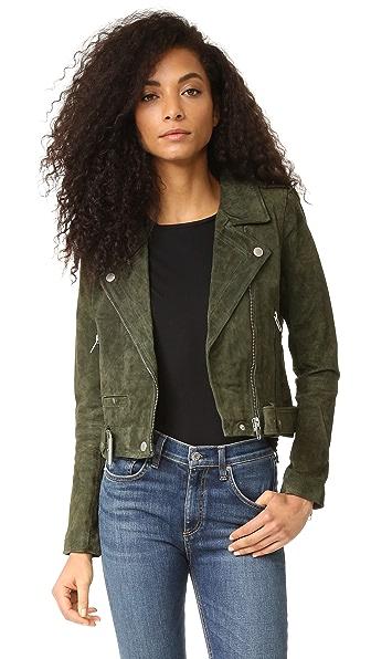 Blank Denim Genuine Suede Moto Jacket