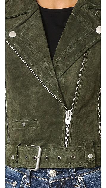 Blank Denim Байкерская куртка из натуральной замши