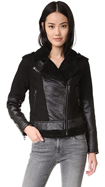 Blank Denim Sherpa Combo Moto Jacket