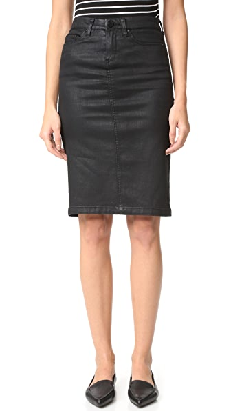 Blank Denim Vegan Leather Skirt - All Lacquered Up