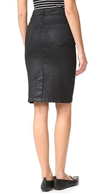 Blank Denim Vegan Leather Skirt