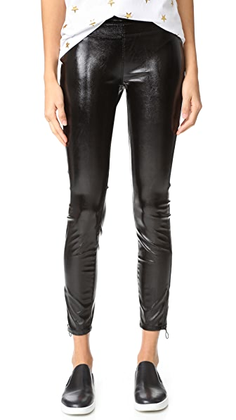 Blank Denim Patent Pull On Leggings