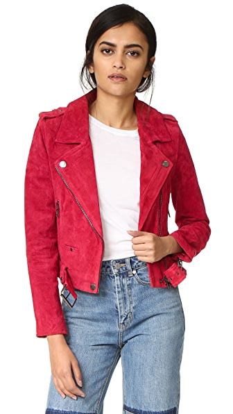 Blank Denim Suede Moto Jacket - Red Moon