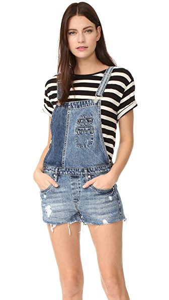 Blank Denim Mixed Denim Overalls