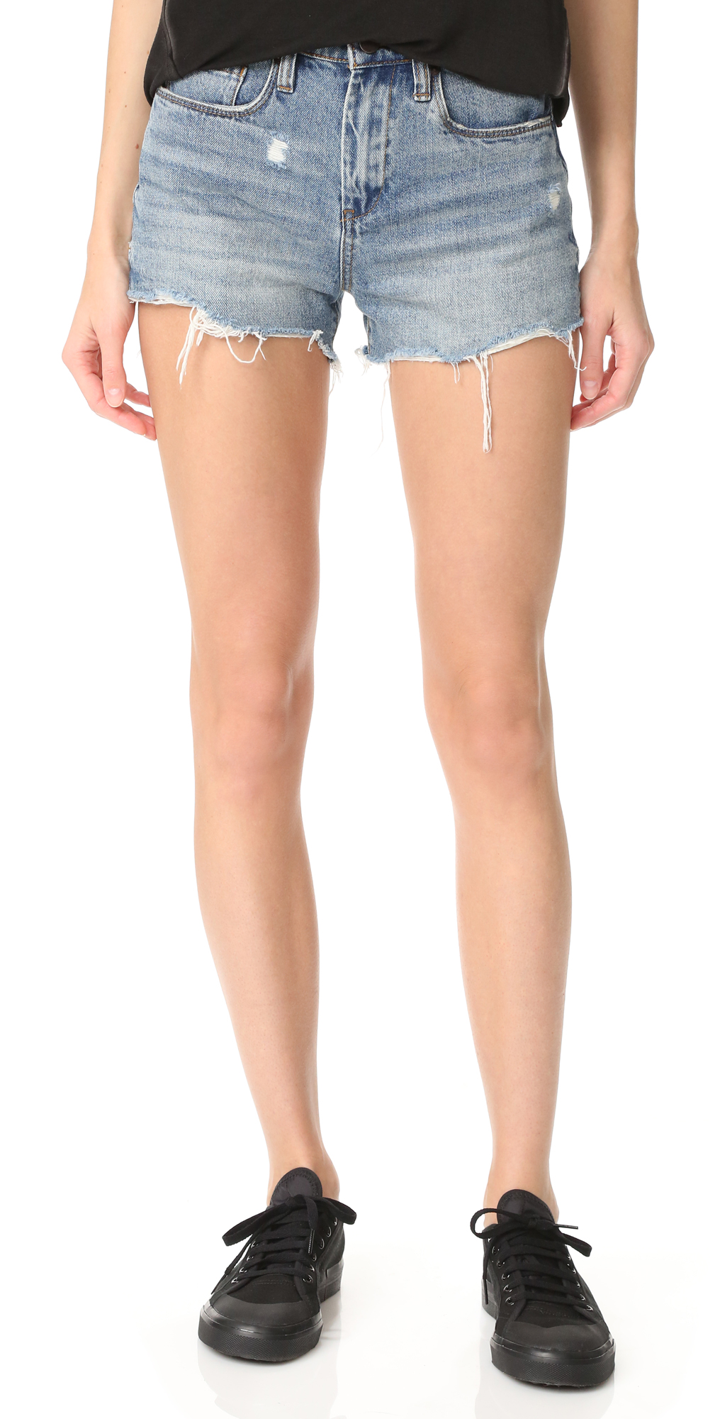 High Rise Ms. Throwback Shorts Blank Denim