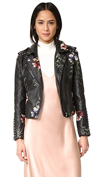 Blank Denim Embroidered Moto Jacket