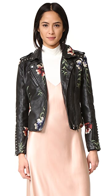 Blank Denim Embroidered Moto Jacket