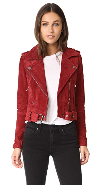 Blank Denim Moto Jacket In Red My Mind