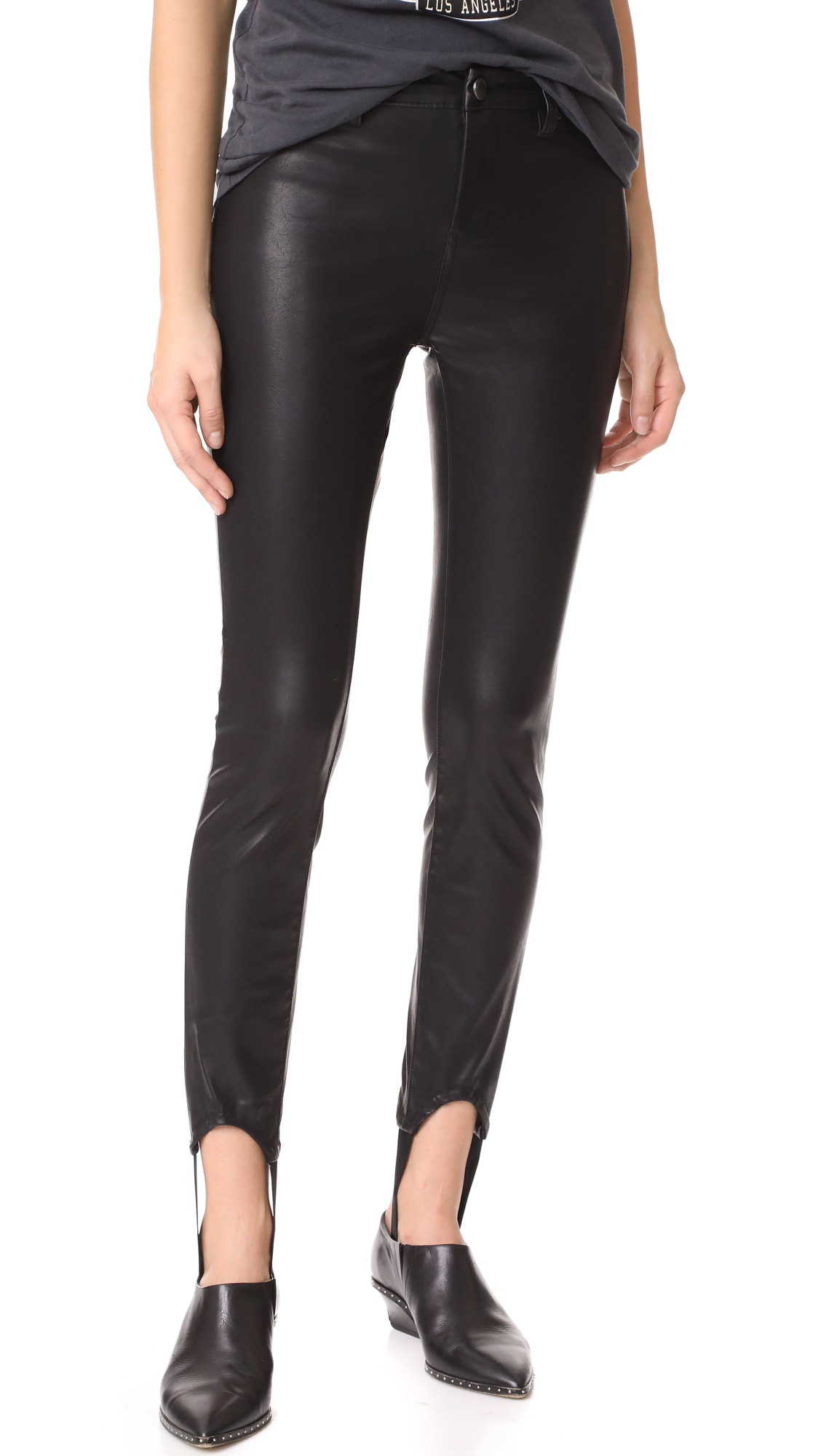 Blank Denim Faux Leather Stirrup Pants - Black