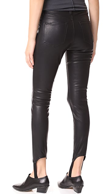 Blank Denim Faux Leather Stirrup Pants