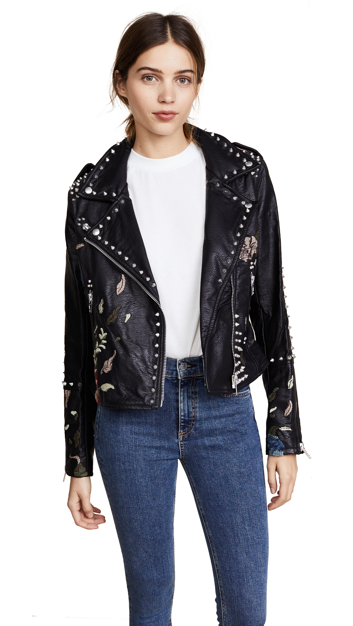 Blank Denim Budding Romance Moto Jacket - Black