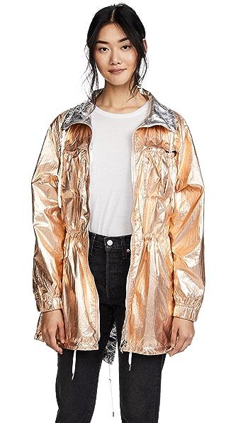 Blank Denim Reversible Metallic Anorak In Rose Gold