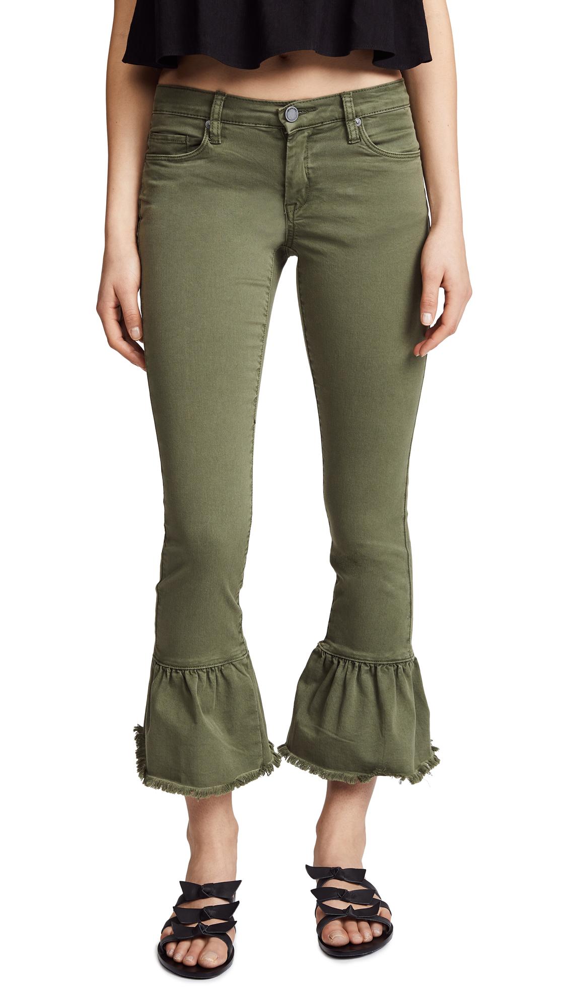 Blank Denim Skinny Jeans with Ruffle Hem