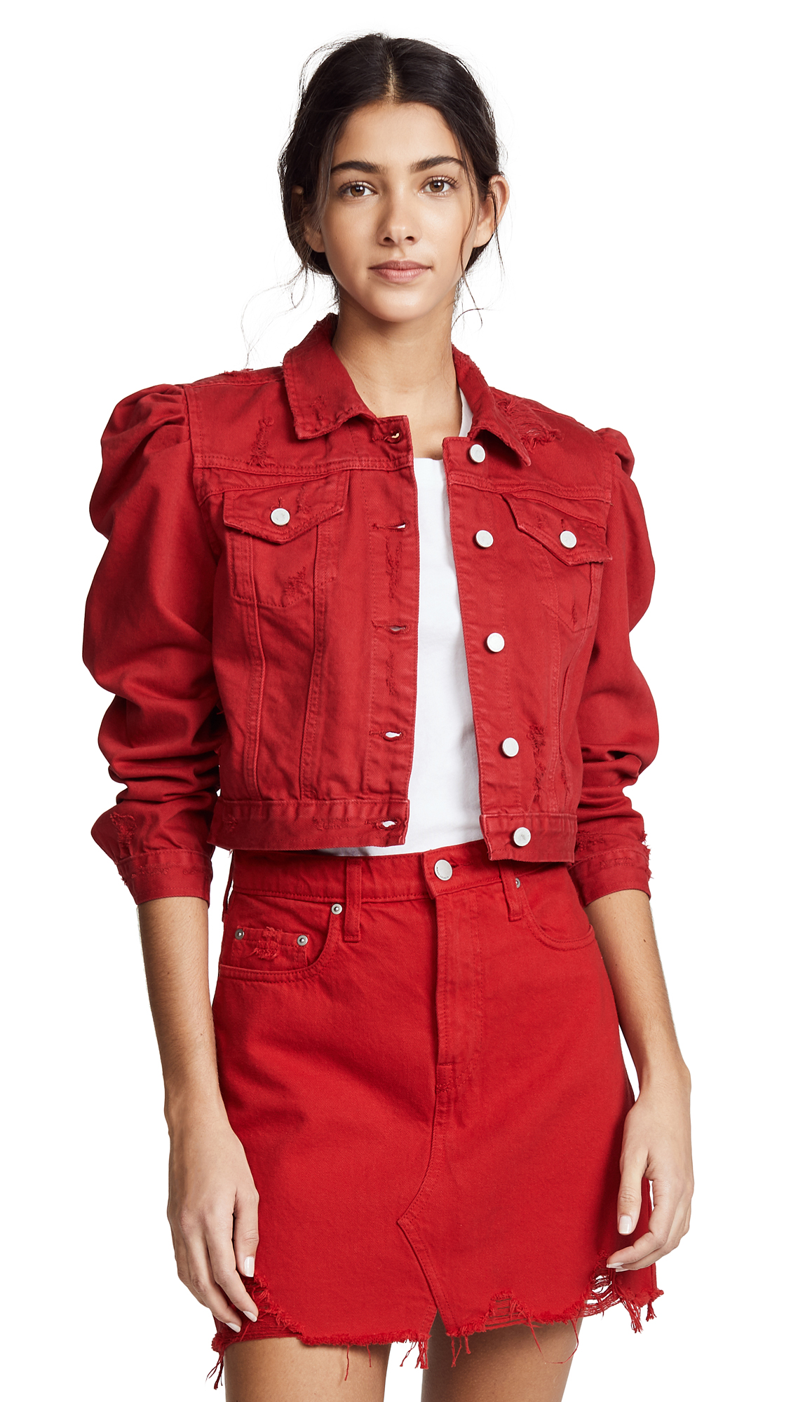 Blank Denim Shrunken Denim Jacket In Candy Apple