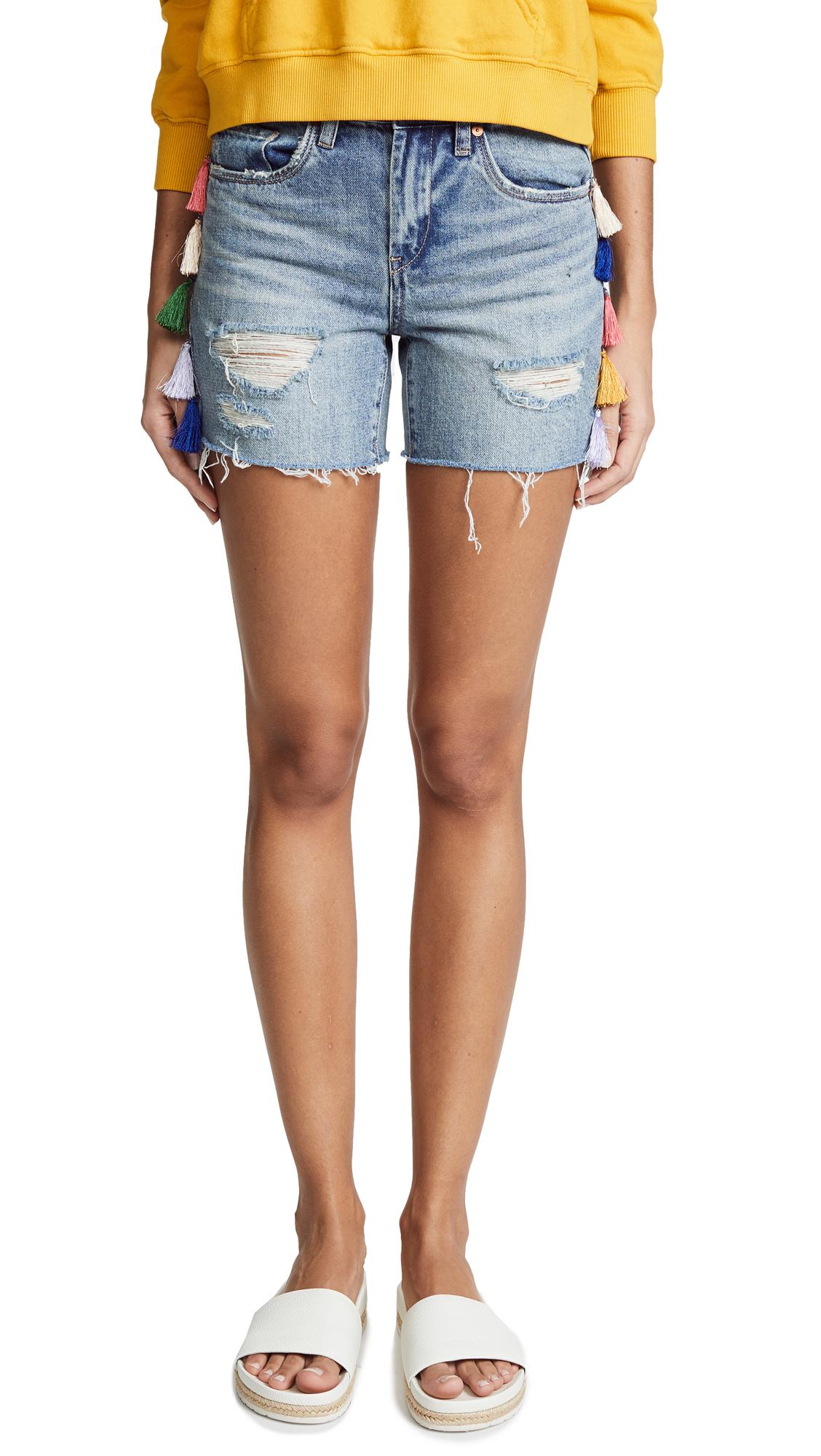 Blank Denim High Rise Shorts with Tassels