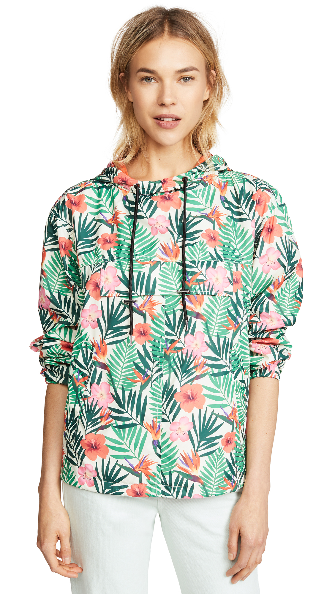 Blank Denim Tropical Print Anorak In Petal To The Metal