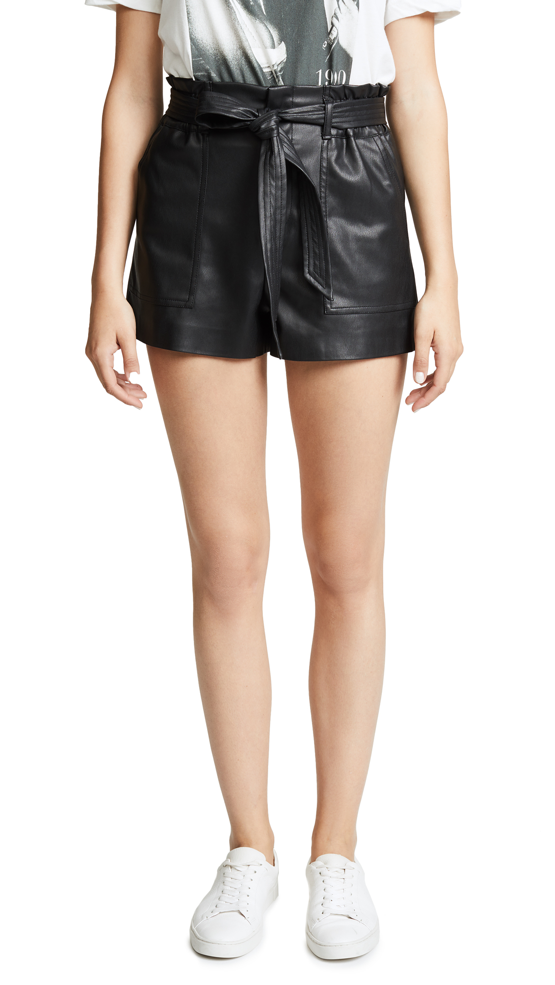 BLANK DENIM Dark Web Vegan Leather Shorts in Black