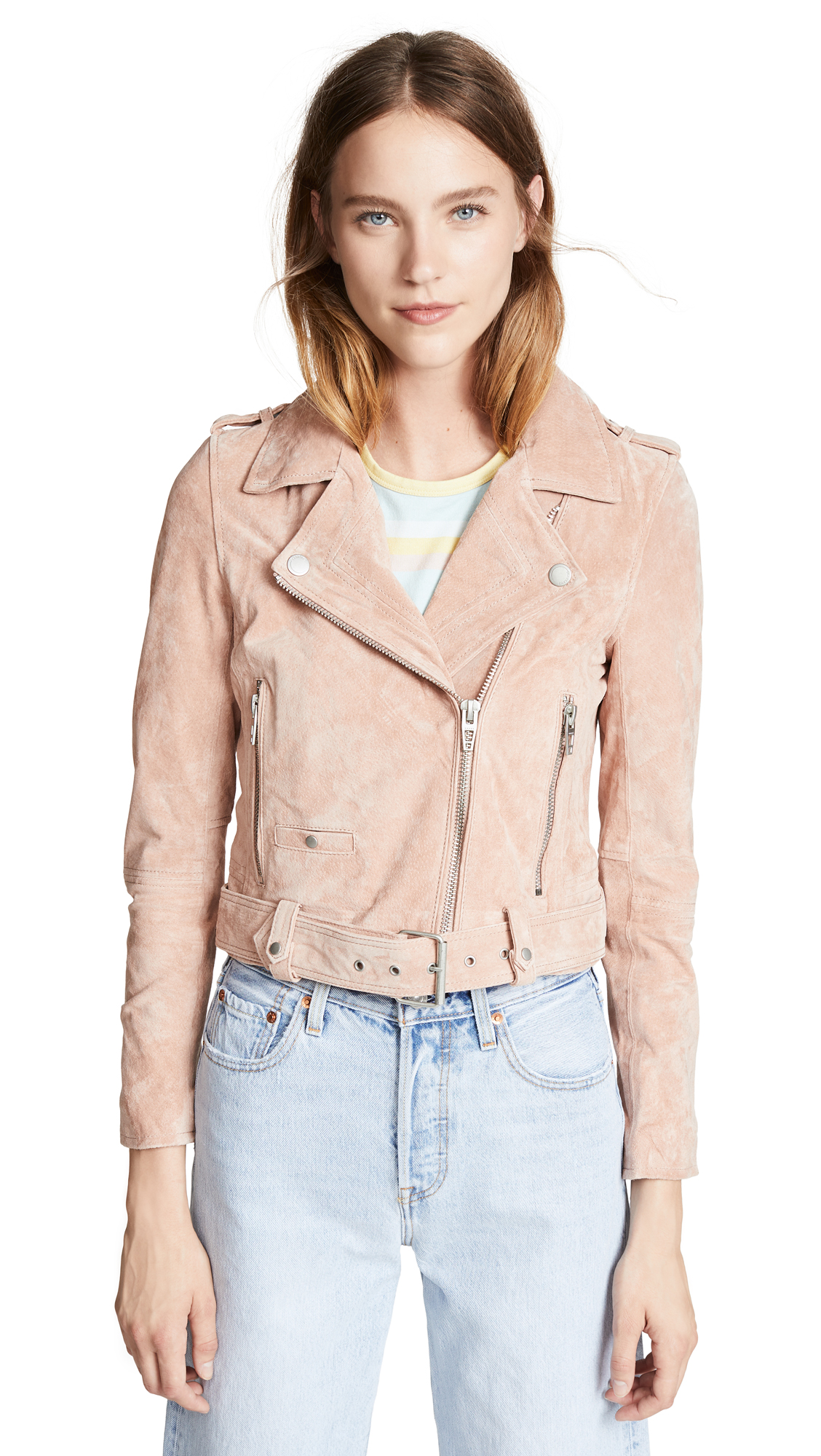 Blank Denim Candy Crush Suede Moto Jacket In Blush