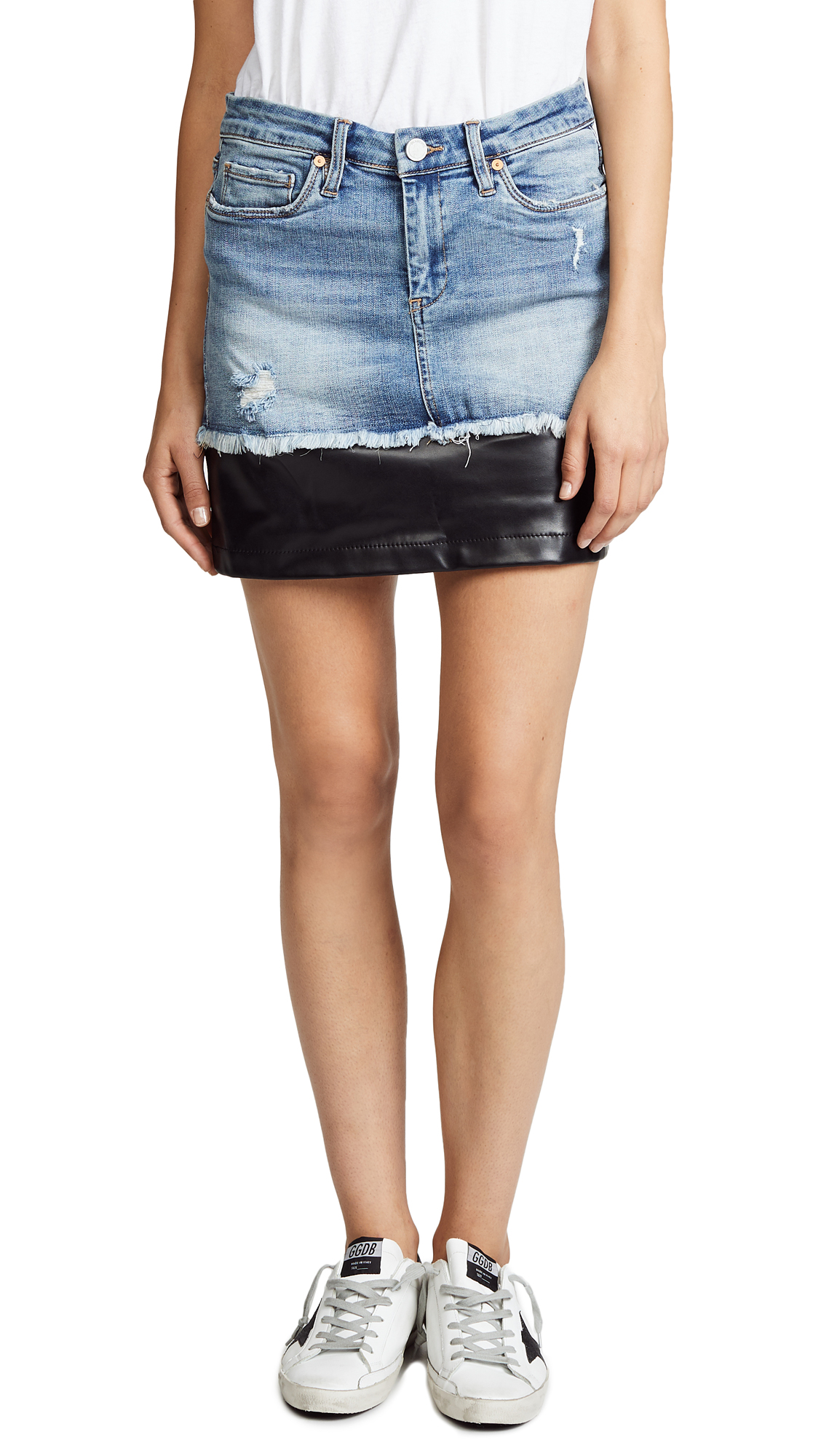 Blank Denim Denim & Vegan Leather Miniskirt In Shaken Not Stirred