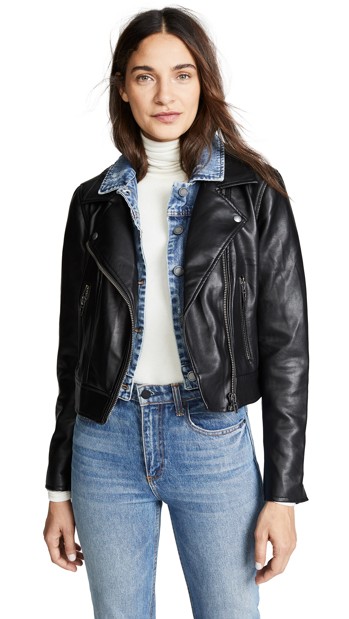 Blank Denim Double Layered Moto & Denim Jacket In The Cool Kid