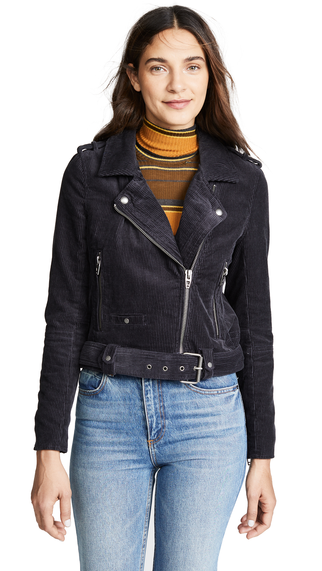 Blank Denim Corduroy Moto Jacket In Twilight Zone