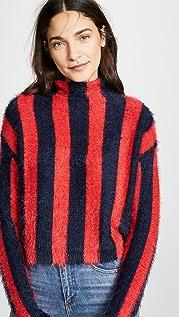 Blank Denim Striped Mock Neck Sweater